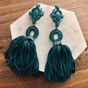 Baublebar Teal Tassel Earrings